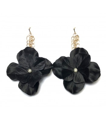 Elizabeth Black Floral Drop Earrings in Gold