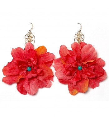 Elizabeth Coral Delphinium Drop Earrings in Gold
