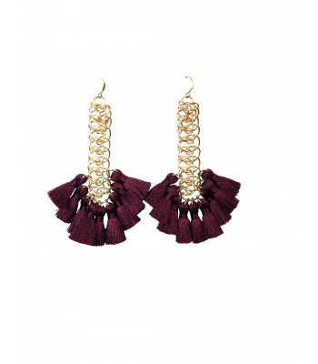 Elizabeth Mini Silky Wine Tassel Earrings in Gold