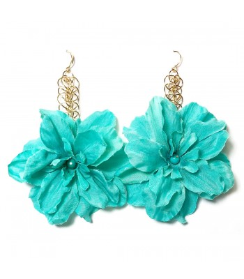 Elizabeth Turquoise Delphinium Drop Earrings in Gold