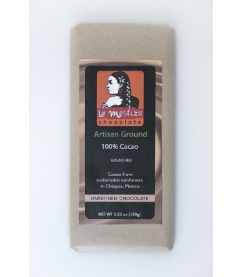 Handmade sugar free gourmet chocolate bar, 100% cocoa.