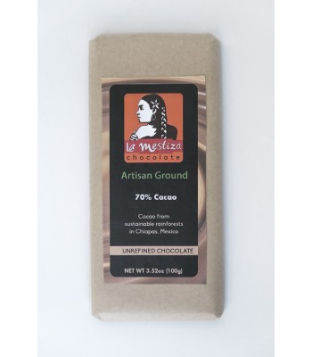 Handmade gourmet ground chocolate bar, 70% cocoa.