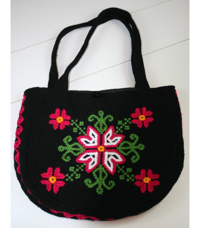 Traditional Mazahua Hand-Embroidered Black Bag with Flowers