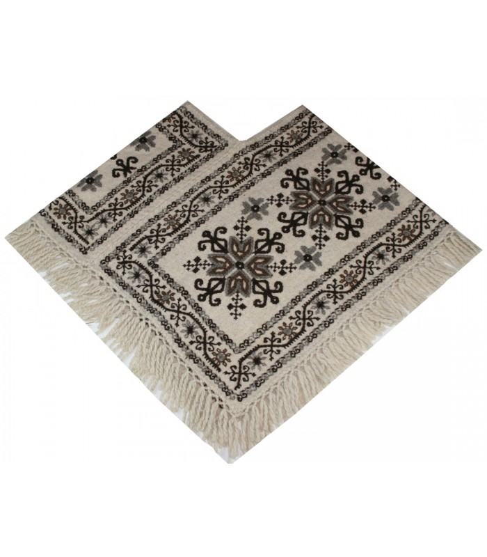 Traditional Mazahua Hand-Embroidered Ivory Wool Poncho with Brown and Grey Motifs