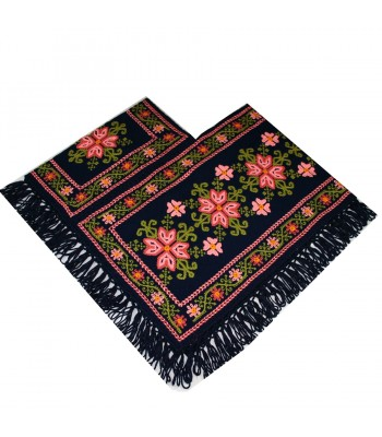 Traditional Mazahua Hand-Embroidered Navy Blue Poncho with Salmon Motifs