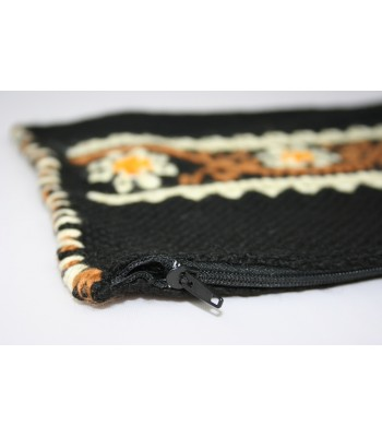Traditional Mazahua Hand-Embroidered Large Cosmetic Bag in Black with Ivory and Brown Motifs