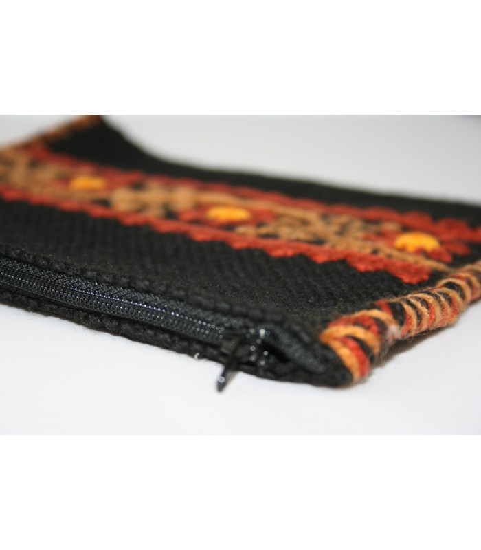 Traditional Mazahua Hand-Embroidered Large Cosmetic Bag in Black with Terracotta and Tan Motifs
