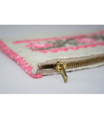 Traditional Mazahua Hand-Embroidered Medium Cosmetic Bag in Ivory with Pink Motifs