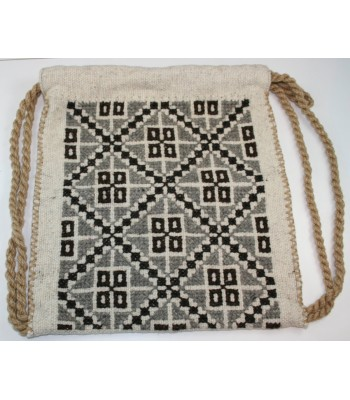 Traditional Mazahua Hand-Embroidered Satchel in Natural Wool with Grey and Brown Motifs