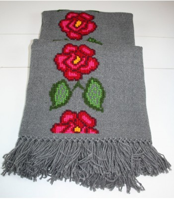 Traditional Mazahua Hand-Embroidered Shawl in Gray with Roses
