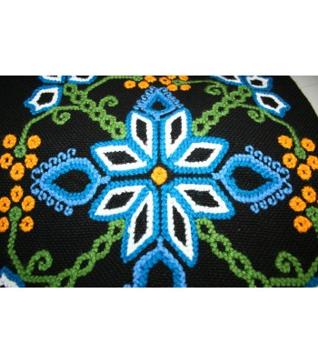 Traditional Mazahua Hand-Embroidered Shawl in Black with Blue, White and Green Motifs