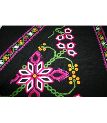 Traditional Mazahua Hand-Embroidered Shawl in Black with Pink, White and Green Motifs