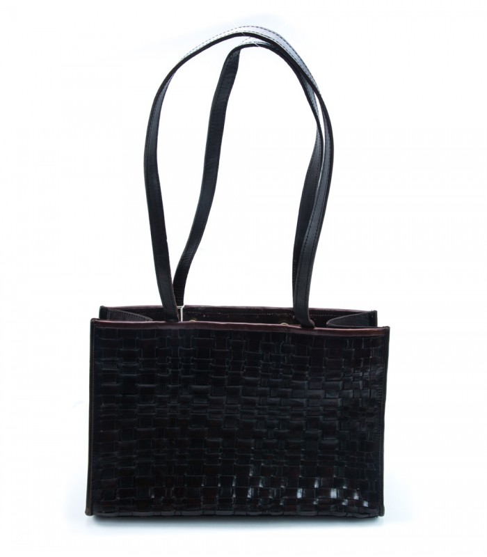 Mexican Woven Leather Bag in Dark Brown