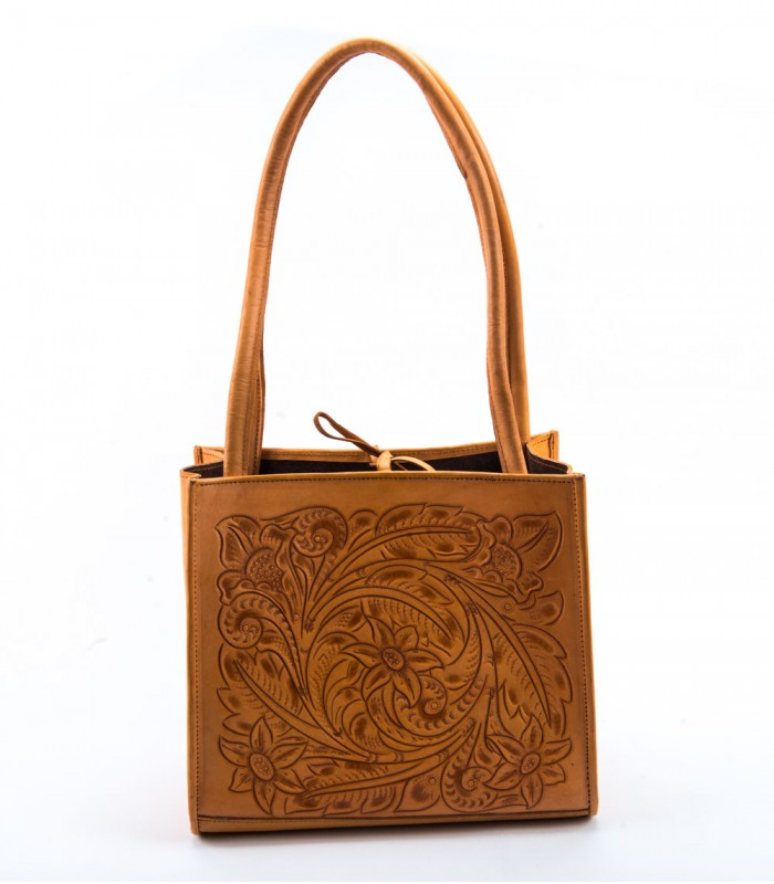 Mexican Tooled Leather Bag in Honey
