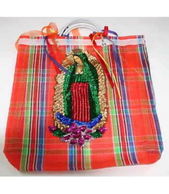 Large Orange Market Bag with a Sequin Made Image of The Virgin of Guadalupe