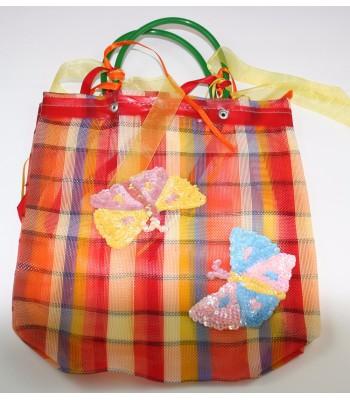 Small Market Bag with a Sequin Made Image of Two Butterflies