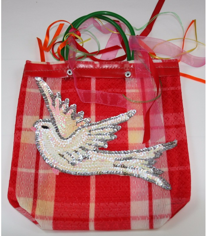 Small Market Bag with a Sequin Made Image of a Dove