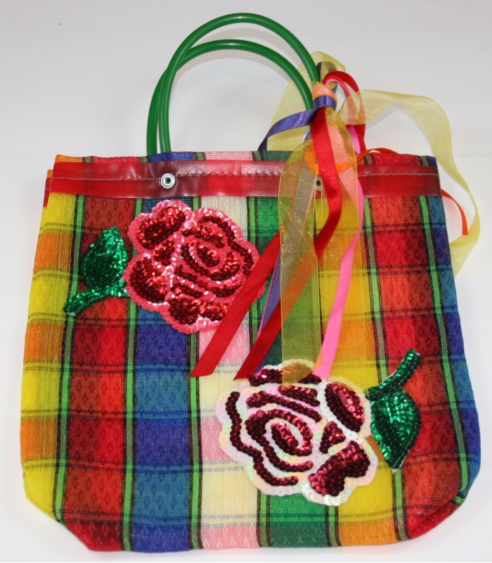Small Market Bag with a Sequin Made Image of Two Roses