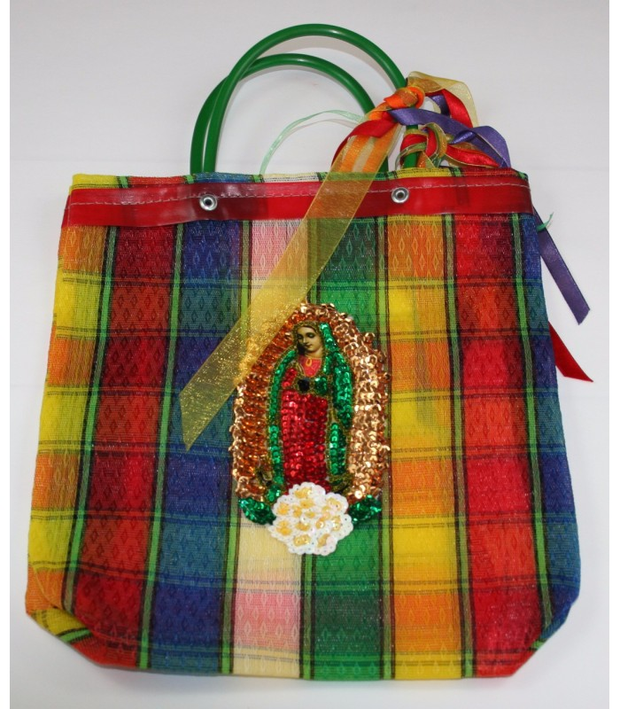 Medium Green Market Bag with a Sequin Made Image of The Virgin of Guadalupe