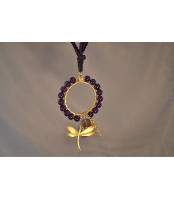 22K Gold-Plated Dream Catcher Covered with Amethysts with a Dragonfly and Fern Charms in a Purple Silk Ribbon