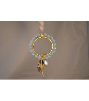 22K Gold-Plated Dream Catcher Covered with Aqua Stones and a Dragonfly and Fern Charms in an Ivory Silk Ribbon