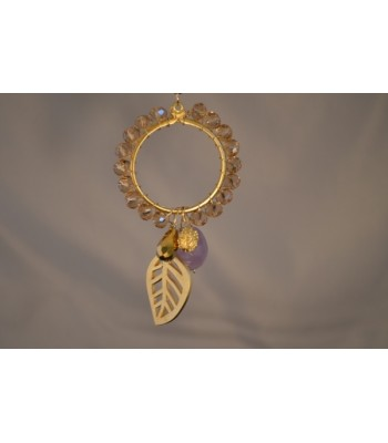 22K Gold-Plated Dream Catcher covered with Smoky Czech Crystals and Leaf Charm in a Brown Silk Ribbon