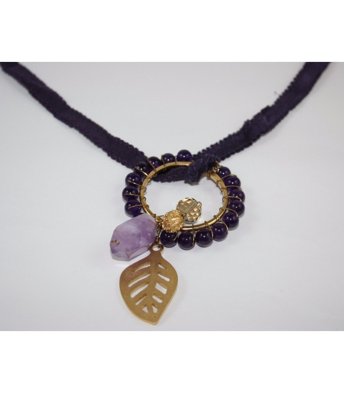 22K Gold-Plated Dream Catcher covered with Amethysts and a Leaf Charm in a Purple Silk Ribbon