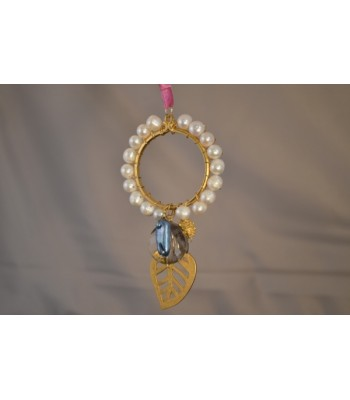 22K Gold-Plated Dream Catcher covered with Freshwater Cultured Pearls and a Leaf Charm in a Pink Silk Ribbon