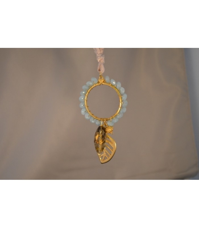 22K Gold-Plated Dream Catcher Covered with Aqua Stones and a Leaf Charm in an Ivory Silk Ribbon