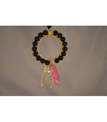 22K Gold-Plated Dream Catcher Covered with Black Onyx and a Wishbone and Leaf Charms in a Black Silk Ribbon