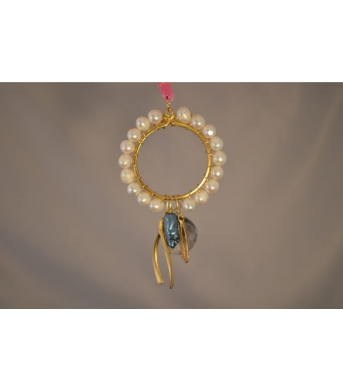 22K Gold-Plated Dream Catcher covered with Freshwater Cultured Pearls and a Wishbone and Leaf Charms in a Pink Silk Ribbon
