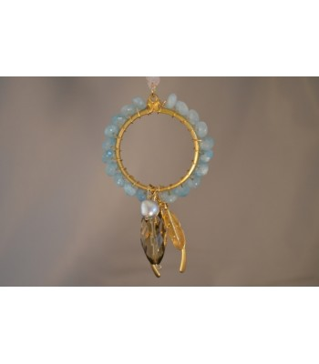 22K Gold-Plated Dream Catcher Covered with Aqua Stones and a Wishbone and Leaf Charms in an Ivory Silk Ribbon