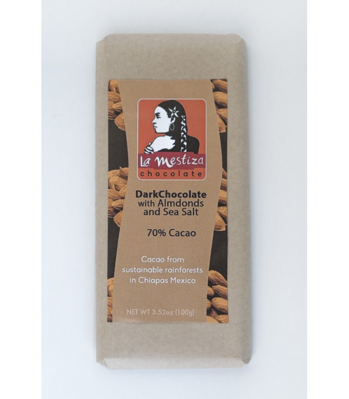 European style gourmet chocolate bar with almonds, 70% cocoa.