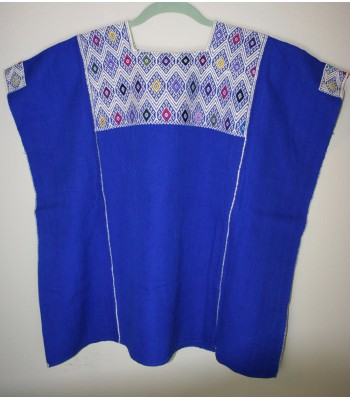 Hand-Embroidered Cotton Blouse in Blue by Artisans from Montana Amuzga in Guerrero