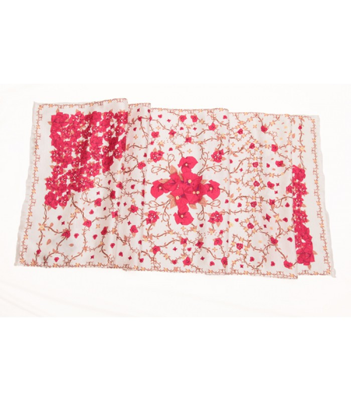 Bougainvilleas Pineda Covalin Silk Shawl in White