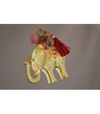 Chain Necklace with Amethyst Stones and Czech Crystals and a 22K Gold-Plated Elephant Charm and a Red Tassel