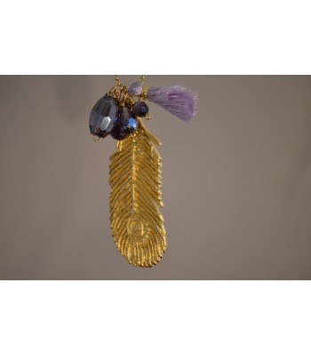 Chain Necklace with Smoky Czech Crystals and a 22K Gold-Plated Fern Charm and a Red Tassel