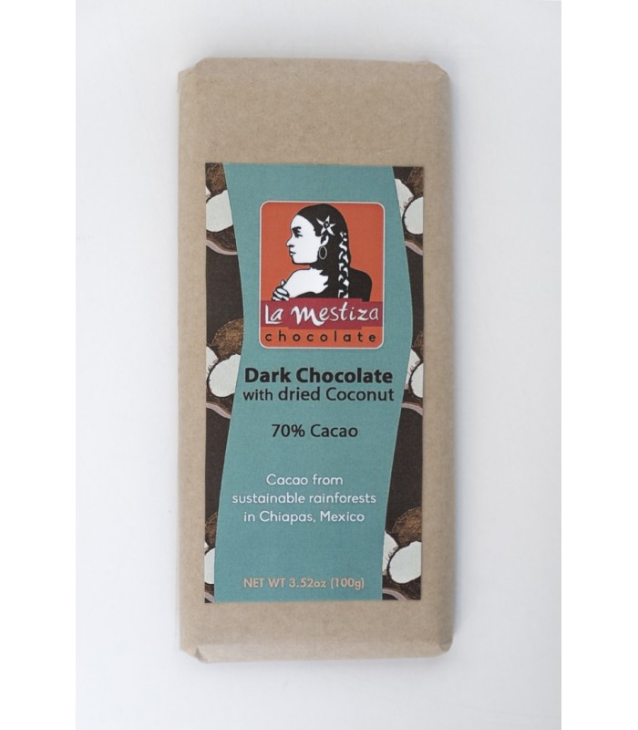 European style gourmet chocolate bar with coconut, 70% cocoa.