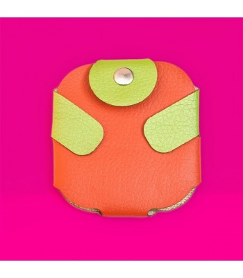 Condom Case in Orange with Green Fastener
