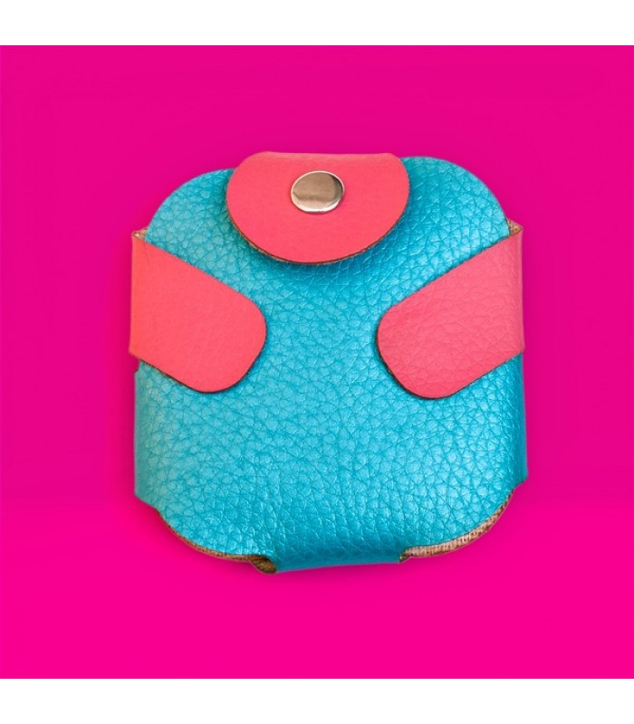 Condom Case in Blue with Pink Fastener