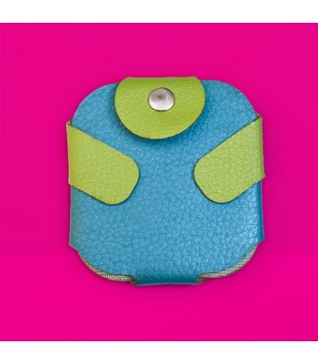 Condom Case in Blue with Green Fastener