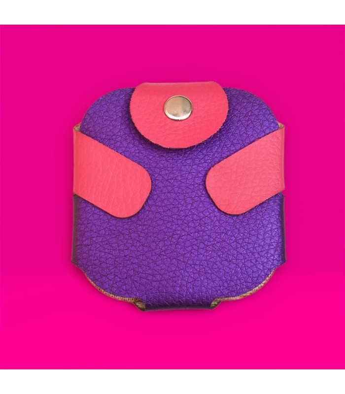 Condom Case in Purple with Pink Fastener