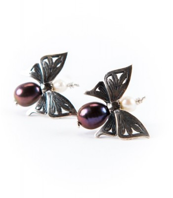 Silver Butterfly Earrings with Grey Pearl