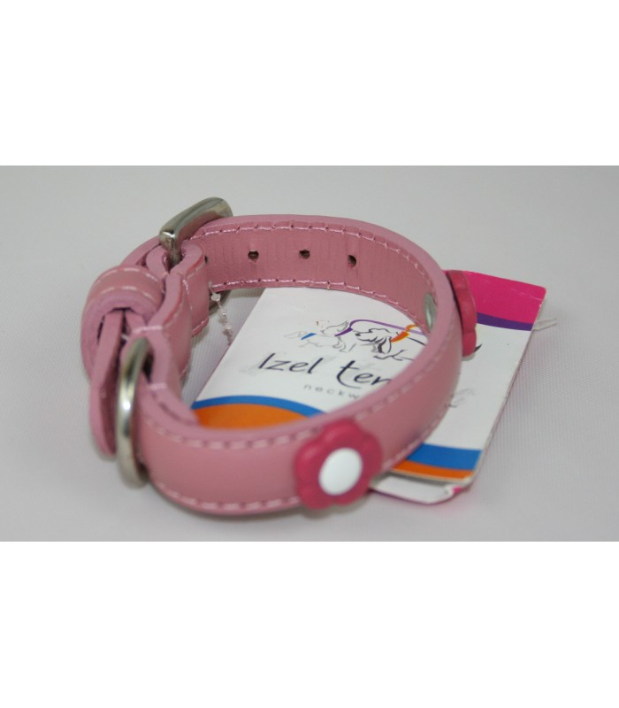 """Flower Charms in Pink Leather Extra-Small Collar 1/2""""x10"""""""