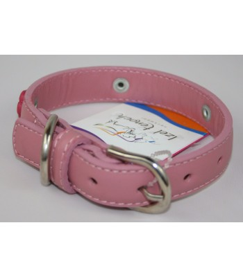 """Flower Charms in Pink Leather Small Collar 3/4""""x14"""""""