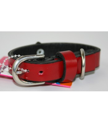 "Black Hearts in Red Leather Extra-Small Collar 1/2""x10"""