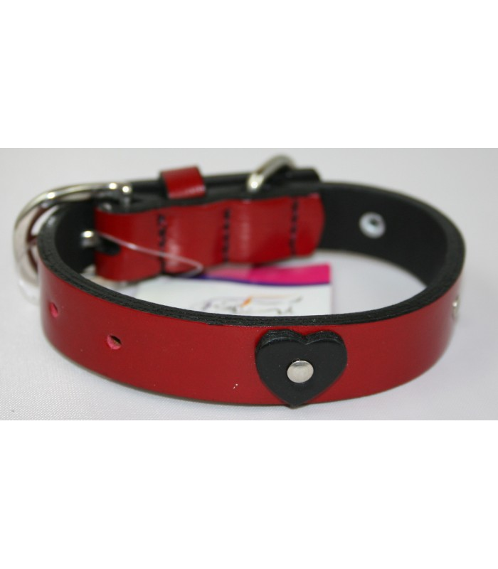 "Black Hearts in Red Leather Small Collar 3/4""x14"""