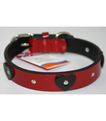 "Black Hearts in Red Leather Medium Collar 1""x18"""