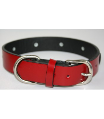 "Black Hearts in Red Leather Large Collar 1 1/4""x22"""