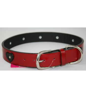 "Black Hearts in Red Leather Extra-Large Collar 1 1/4""x26"""
